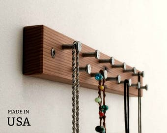 Jewelry Rack - Modern Wood Jewelry Display - Jewelry Rack - Short Jewelry Rack - Jewelry Hanger - Metal and Wood - Bath Decor -