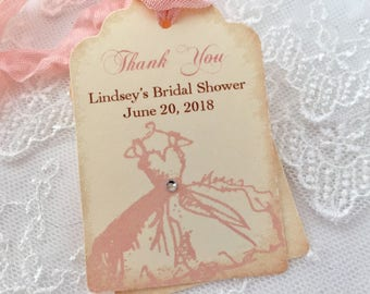 Bridal Shower Tags Favor, Thank You Tags, Set of 10, Pink Wedding Gown