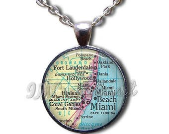 20% OFF - Miami Map Road Florida Glass Dome Pendant or with Chain Link Necklace MP101