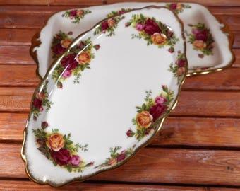 Royal Albert Tea Platters,Bone Chine Serving Platters,Old Country Roses Sandwich Serving Platters