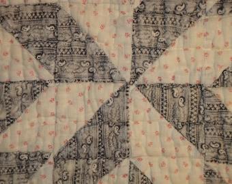 Antique Black Calico Quilt Scrap Piece | Old Quilt Scrap Piece | Vintage Quilt Scrap | Cutter Quilt Piece | Primitive Quilt Piece