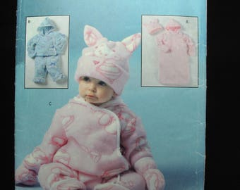 Butterick Infant Bunting Jacket Pants Jumpsuit Hat Mittens Pattern Uncut Sewing One Size Easy