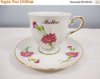 """CLEARANCE 50% OFF - Vintage Queen Ann """"Mother"""" Fine China Tea/Coffee Cup and Saucer"""