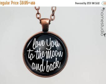 ON SALE - To The Moon (BLK) Quote jewelry. Necklace, Pendant or Keychain Key Ring. Perfect Gift Present. Glass dome metal charm by HomeStudi