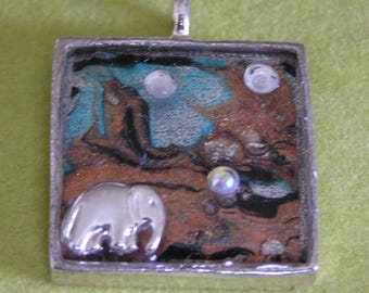 Mixed Media Sterling Silver Elephant Pendant