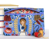 Alice in Wonderland Zipper Pouch Handmade with Rifle Paper Co Fabric