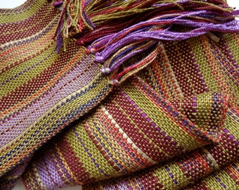 handwoven scarf in autumn olive and lavender stripe