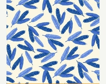 ON SALE Flower Pedals Blue Feathers by Carolyn Gavin for Windham Fabrics