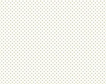 ON SALE Riley Blake Basic Sparkle Gold Swiss Dot On White
