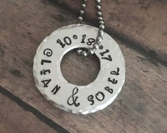 Clean and Sober Necklace, Sobriety Necklace, Recovery Jewelry, Recovery Necklace, Sobriety Anniversary Necklace, Addiction Recovery Gift