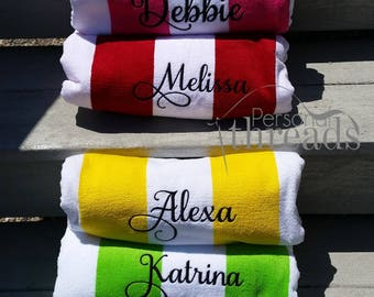 Monogrammed Beach Towels, Personalized Towels, Embroidered Pool Towels, Monogram  Beach Towels, Personalized Gifts