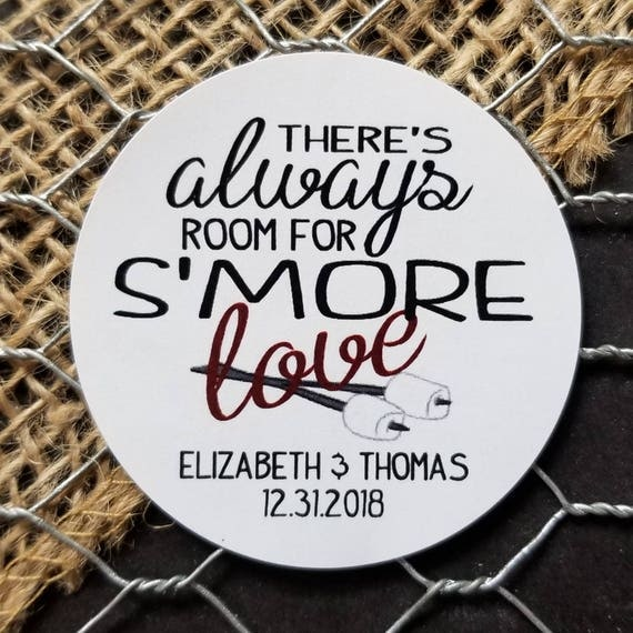 Theres always room for Smore Love Personalized Wedding Shower Favor STICKER choose your amount sold in sets of 20 STICKERS