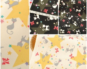 4570 - Japanese Cat & Star Twill Cotton Fabric - 43 Inch (Width) x 1/2 Yard (Length)