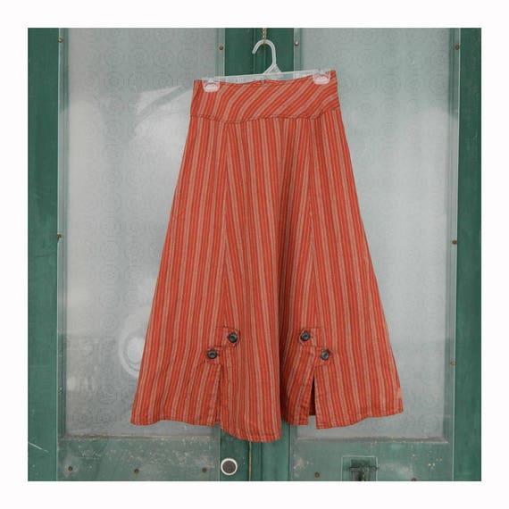 Solitaire A-Line Skirt -S- Russet Stripe Heavy Weight Linen