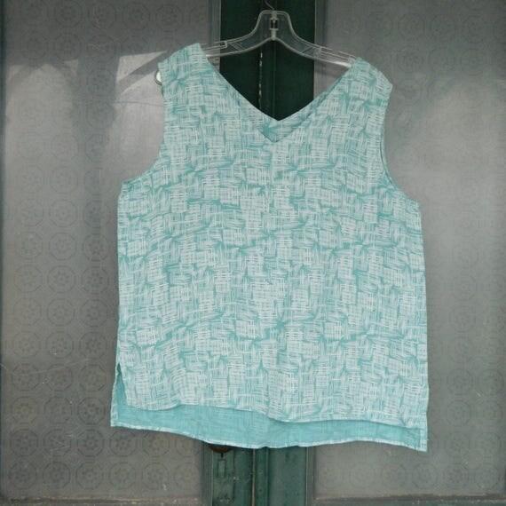 Click Color Me Cotton V-Neck Tank -XXL- Aqua Grid Linen NWT