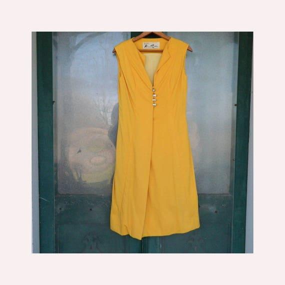 Vintage 1980s Bill Blass for Maurice Rentner Sleeveless Cocktail Dress -8- Yellow