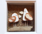 Scottish Sea Pottery Birds Picture - Handmade in Scotland - Seaside Decor - Bird Lovers Gift - Birdwatcher Gifts - New Mother - Baby Gift