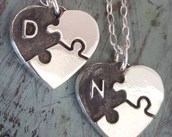 Puzzle Piece Heart Necklace Silver Initial Personalized Pendant