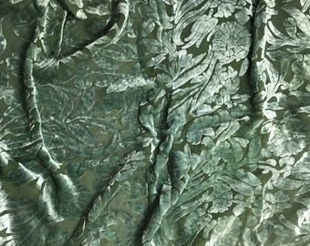 Moss Green Floral - Hand Dyed Burnout Silk Velvet - 1 Yard