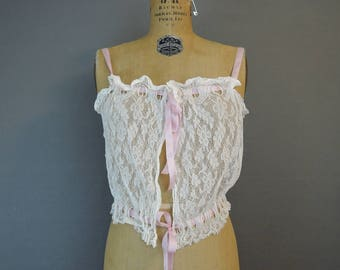 Vintage Edwardian 1910s Lace Camisole Corset Cover, fits 34 inch bust