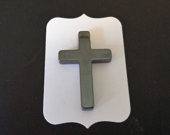 Hematite Cross Charm - Low Shipping