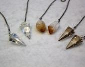 Quartz Crystal, Polished Stone, Crystal Fan Pulls,  Rough Citrine Fan Pull, Smokey Quartz Fan Pull, Stone Fan Pull, Rock Fan, 37-50