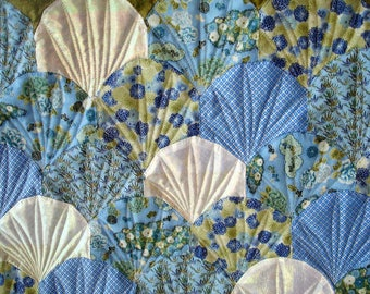 Quilted Wall Art, Art Quilt - Mermaid Scales