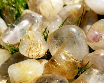 Rutilated Quartz Tumbled Polished Crystal with Rutile Inclusions Medium