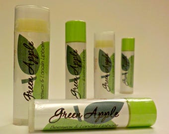 GREEN APPLE - handmade Beeswax and Lanolin Lip Balm by Soothing Suds Soap
