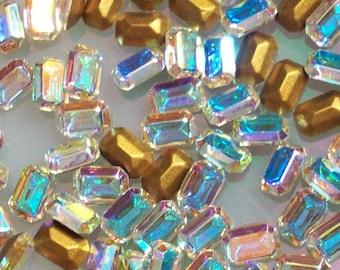 12 6x4mm Crystal AB Vintage Swarovski TTC Article 4610/2 6x4mm Crystal ab Octagons 6x4mm Crystal AB Baguettes