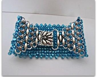 Herringbone Cuff Bracelet,  Aqua Beadwoven Bracelet, Fancy Hook clasp, Seed Bead Bracelet, Beaded  Bracelet, 8 inch Bracelet Item#1258
