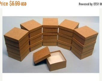 Summer Sale 10 Pack Kraft Color Deep Cotton Filled Jewelry Gift Retail Boxes 3.5 X 3.5 X 2 Inch Size