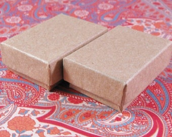 Summer Sale 100 Pack Kraft Cotton Filled Jewelry Presentation Boxes 1.85X1.25X5/8 Inch Size Itty Bitty Boxes