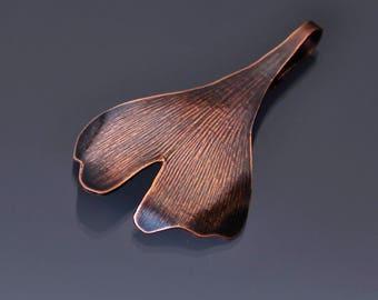 Small Copper Ginkgo Leaf Ornament