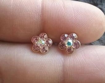 Vintage Stud Earrings, Pierced Earrings, Pink Rhinestone Earrings, Gold Stud Earrings, Vintage Stud Earrings