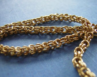 "Heavy Woven Gold filled Rope Chain 12KT / 24"" Length - Elegant & Unique Round Weave- Vintage 60s"