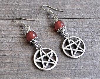 ON SALE Silver Star Earrings, Pentagram Earrings, Wicca Earrings, Pagan Earrings, Tribal Earrings, Pentacle Earrings, Gothic Jewelry, Wicca
