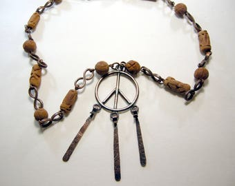very large vintage peace sign necklace with earthy ceramic beads, hippie artisan peace symbol pendant, statement necklace, long, copper