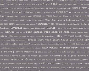 Bee Basics By Lori Holt Happy Text Gray (C6402-Gray)