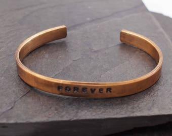 Men's Bronze Anniversary Bracelet, Bronze Cuffs, Men's Cuff,  8 Year Anniversary, Bronze Bracelet, 8th Anniversary Gift