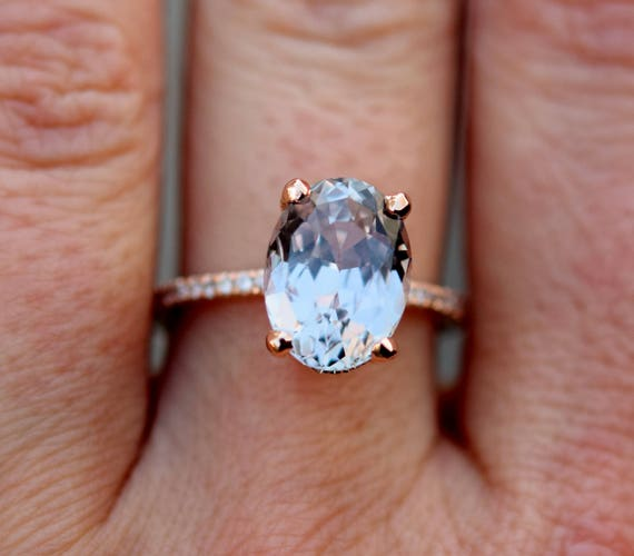 Moonlight Sapphire Engagement Ring. 5ct Color change sapphire ring. Rose gold engagement ring Blake Lively ring Sapphire ring Eidelprecious