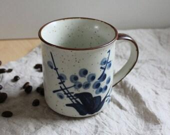 Blue flowers. Vintage rustic  stoneware mug.