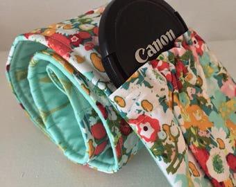 Camera Strap Cover Padded Elastic Pocket Wide Lens Cap w Monogram Custom DSLR Canon Nikon