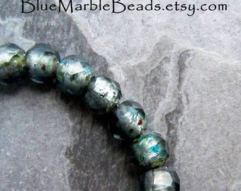 Rare Glass Beads, Vintage Beads, Faceted Beads, Foil Beads, Grey Green, Multi Colored, Vintage Glass, 20 Beads