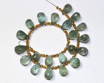Sale 45% off 21 Pcs Natural Moss Aquamarine Faceted Teardrop Briolettes Size 10x6-12x6.5mm Semiprecious Loose Gemstone Beads MA09A