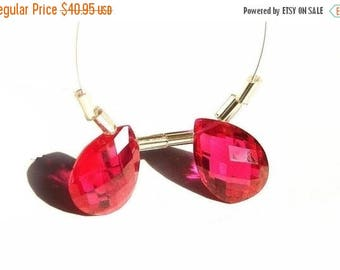 50% Off Sale AAA Ruby Red Corundum Quartz Faceted Pear Briolettes Matched pair 14x10mm
