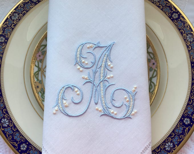 Monogrammed Linen Dinner Napkins, Classic Antique Style Custom Monogrammed, Wedding Napkins, Bridal Shower, Bridal Luncheon, Head Table
