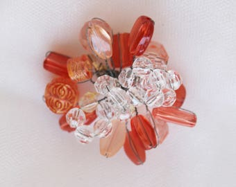 Orange, beaded wire, pin back, Brooch,hair accessories,headband jewelry,clothes