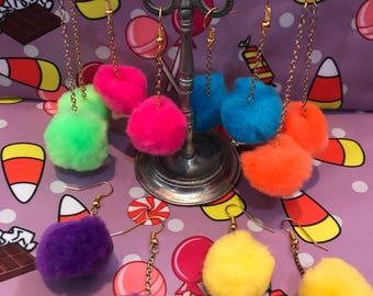 Pom Pom Rainbow Neon Puff Dangle Earrings