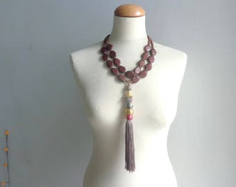 Brown tassel necklace, Statement necklace, chunky brown multistrand tassel necklace